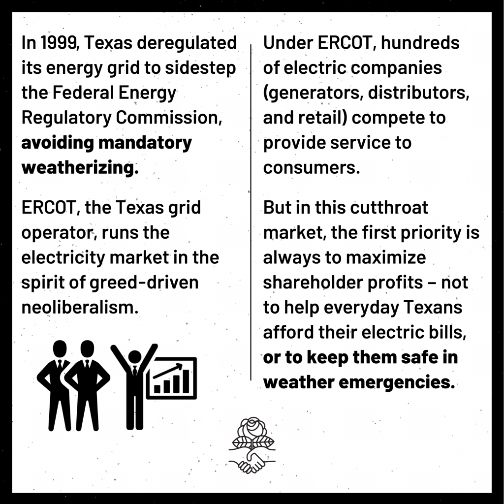 In 1999, Texas deregulated its energy grid to sidestep the Federal Energy Regulatory Commission, avoiding mandatory weatherizing. ERCOT, the Texas grid operator, runs the electricity market in the spirit of greed-driven neoloiberalism. Under ERCOT, hundreds of electric companies (generators, distributors, and retail) compete to provide service to consumers. But in this cutthroat market, the first priority is always to maximize shareholder profits - not to help everyday Texans afford their electric bills, or to keep them safe in weather emergencies.