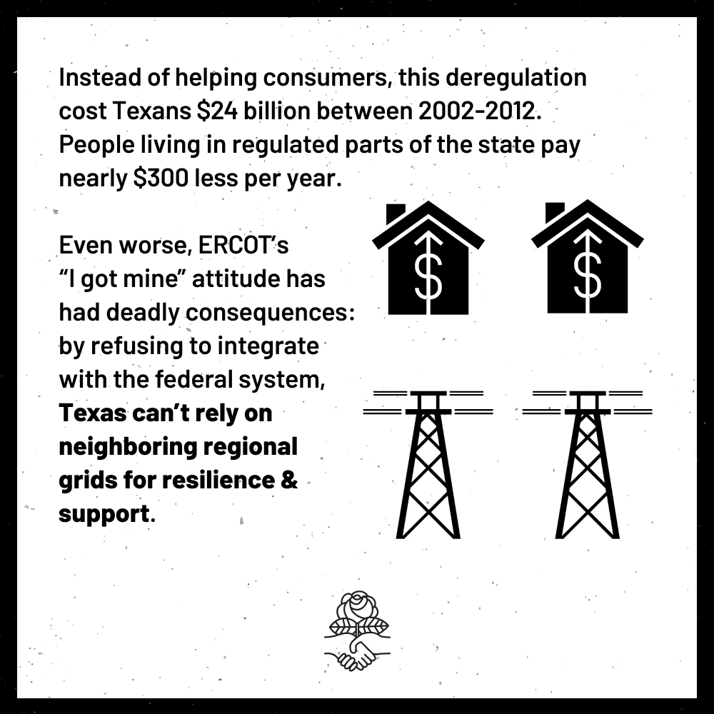 """Instead of helping consumers, this deregulation cost Texans $24 billion between 2002-2012. People living in regulated parts of the state pay nearly $300 less per year. Even worse, ERCOT's """"I got mine"""" attitude has deadly consequences: by refusing to integrate with the federal system, Texas can't rely on neighboring regional grids for resilience and support."""